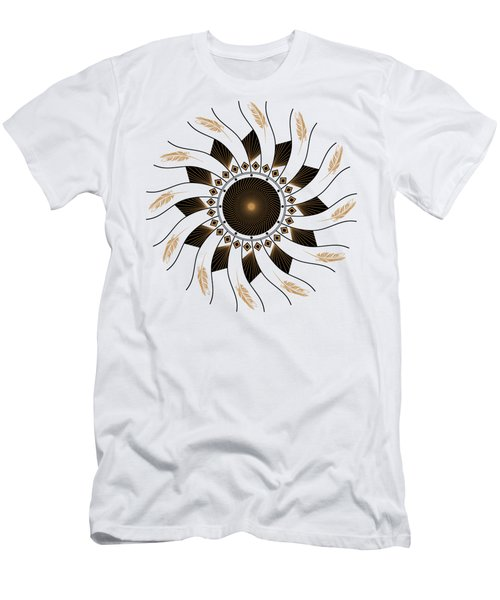 Men's T-Shirt (Athletic Fit) featuring the digital art Mandala Black And Gold by Linda Lees