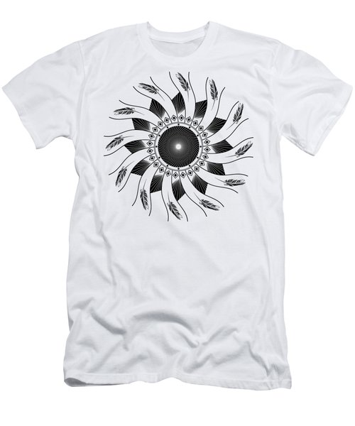 Men's T-Shirt (Athletic Fit) featuring the digital art Mandala Black And White by Linda Lees