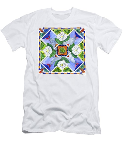 Mandala IIi - White Hibiscus Men's T-Shirt (Athletic Fit)