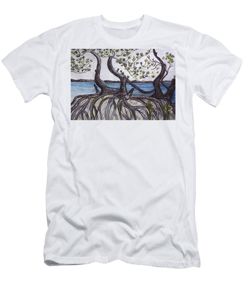 Men's T-Shirt (Athletic Fit) featuring the painting Mangroves by Joan Stratton