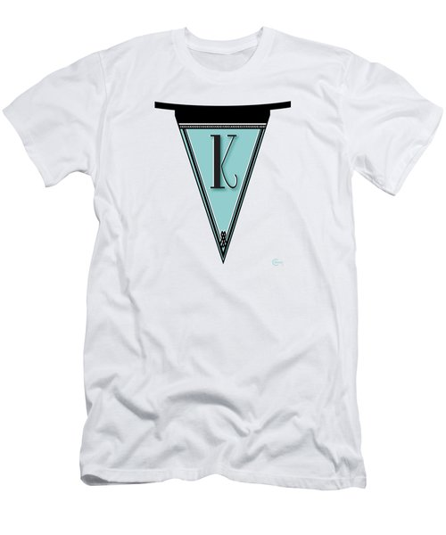 Pennant Deco Blues Banner Initial Letter K Men's T-Shirt (Slim Fit) by Cecely Bloom
