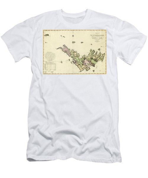 Map Of Saint Barts 1801 Men's T-Shirt (Athletic Fit)
