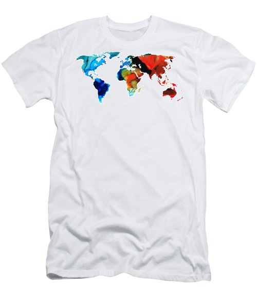 Men's T-Shirt (Athletic Fit) featuring the painting Map Of The World 3 -colorful Abstract Art by Sharon Cummings