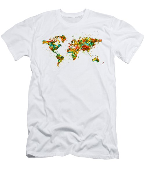 Map Of The World Watercolor Men's T-Shirt (Athletic Fit)