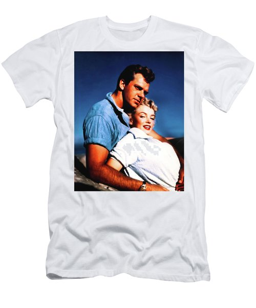 Men's T-Shirt (Athletic Fit) featuring the photograph Marilyn Monroe Blond Bomb Shell Clash By Night by R Muirhead Art