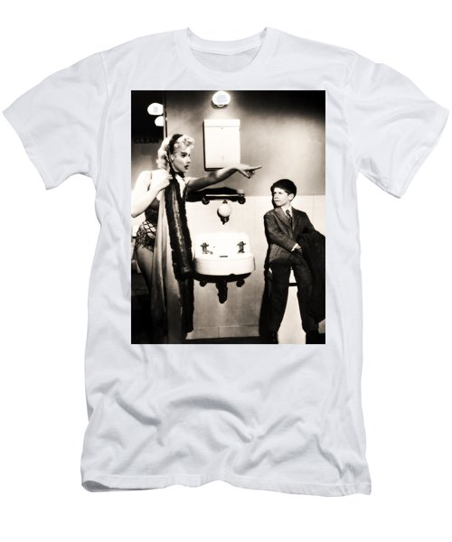 Men's T-Shirt (Athletic Fit) featuring the photograph Marilyn Monroe Spied On By Cheeky Boy In Changing Room by R Muirhead Art