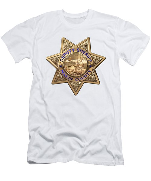 Men's T-Shirt (Slim Fit) featuring the digital art Marin County Sheriff Department - Deputy Sheriff Badge Over White Leather by Serge Averbukh