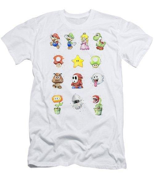 Mario Characters In Watercolor Men's T-Shirt (Slim Fit) by Olga Shvartsur
