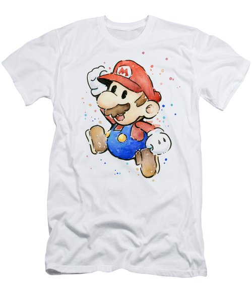 Mario Watercolor Fan Art Men's T-Shirt (Slim Fit) by Olga Shvartsur