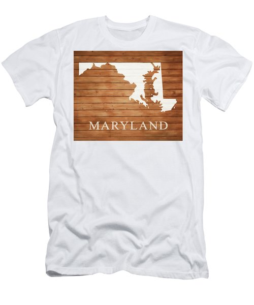 Maryland Rustic Map On Wood Men's T-Shirt (Athletic Fit)