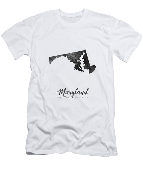 Maryland State Map Art - Grunge Silhouette Men's T-Shirt (Athletic Fit)