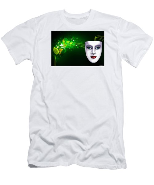Men's T-Shirt (Slim Fit) featuring the photograph Mask Blue Eyes On Green Vines by Gary Crockett