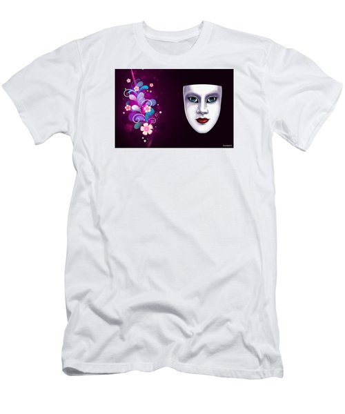 Men's T-Shirt (Slim Fit) featuring the photograph Mask With Blue Eyes Floral Design by Gary Crockett