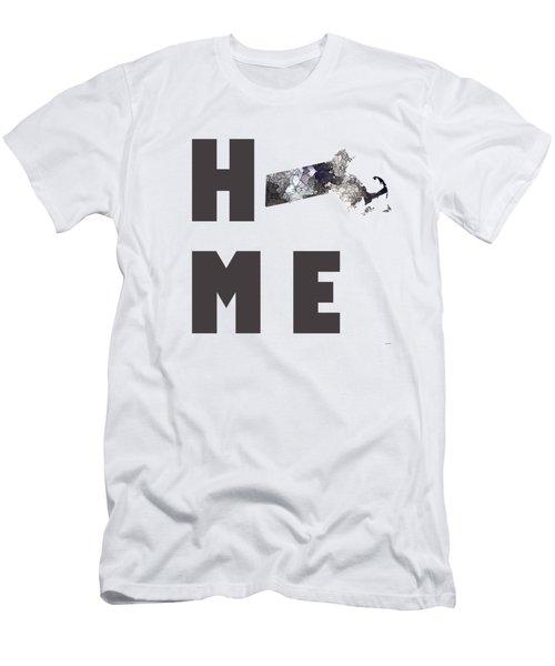 Men's T-Shirt (Slim Fit) featuring the digital art Massachusetts State Map by Marlene Watson