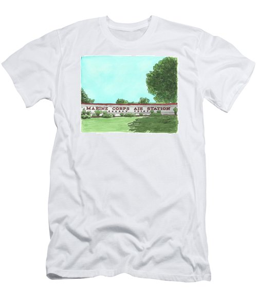 Men's T-Shirt (Athletic Fit) featuring the painting Mcas Cherry Point Welcome by Betsy Hackett