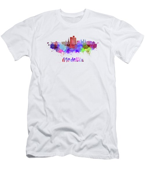 Medellin Skyline In Watercolor Men's T-Shirt (Athletic Fit)