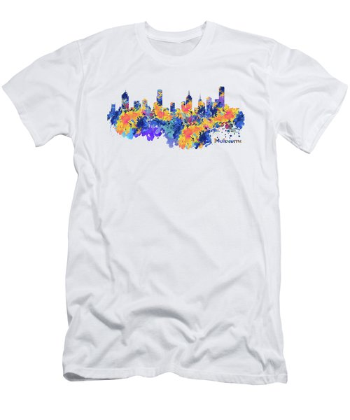 Melbourne Watercolor Skyline Men's T-Shirt (Athletic Fit)