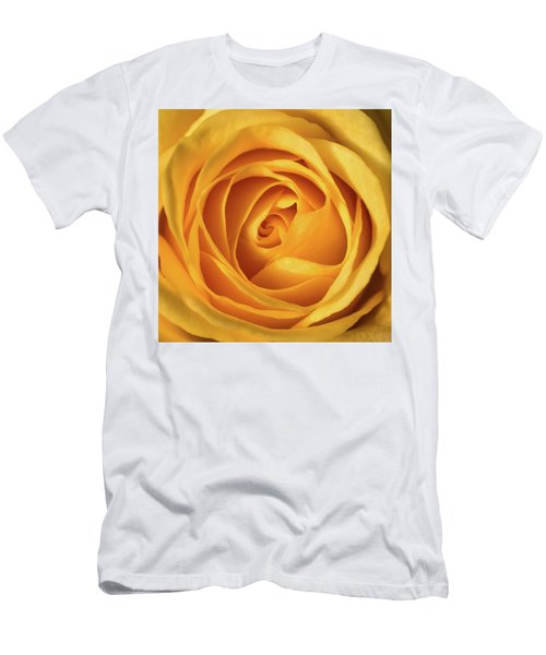 Men's T-Shirt (Slim Fit) featuring the photograph Mellow Yellow Rose Square by Terry DeLuco