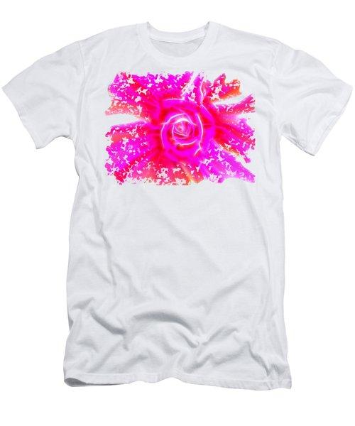 Melting Pink Rose Fractalius Men's T-Shirt (Athletic Fit)