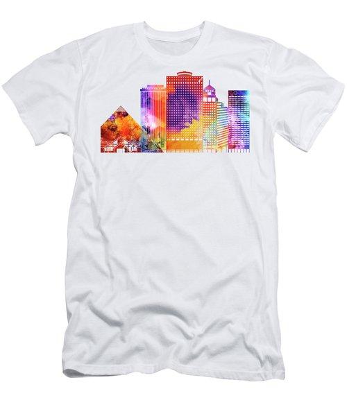 Memphis Landmarks Watercolor Poster Men's T-Shirt (Athletic Fit)