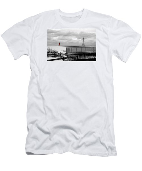 Men's T-Shirt (Slim Fit) featuring the photograph Menominee North Pier Lighthouse On Ice by Mark J Seefeldt
