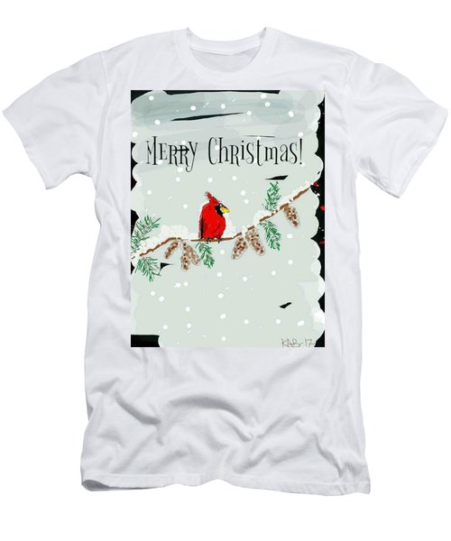 Merry Christmas Cardinal Men's T-Shirt (Athletic Fit)