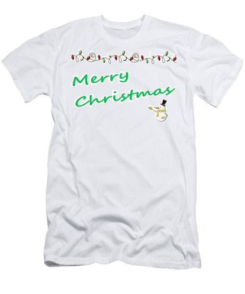 Merry Christmas Little Snow Man On White 2 Men's T-Shirt (Athletic Fit)