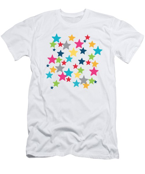 Men's T-Shirt (Slim Fit) featuring the painting Messy Stars- Shirt by Linda Woods