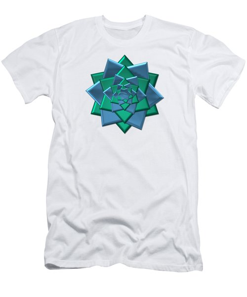 Metallic Blue And Green 3-d Look Gift Bow Men's T-Shirt (Athletic Fit)