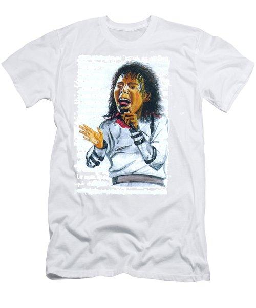 Men's T-Shirt (Slim Fit) featuring the painting Michael Jackson by Emmanuel Baliyanga