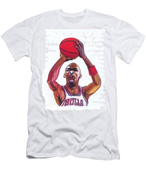 Men's T-Shirt (Slim Fit) featuring the painting Michael Jordan by Emmanuel Baliyanga