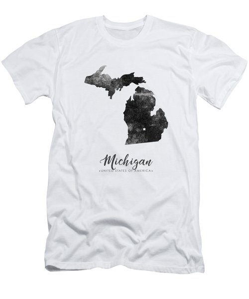 Michigan State Map Art - Grunge Silhouette Men's T-Shirt (Athletic Fit)