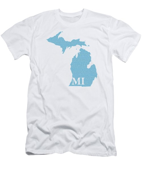 Michigan State Map With Text Of Constitution Men's T-Shirt (Athletic Fit)