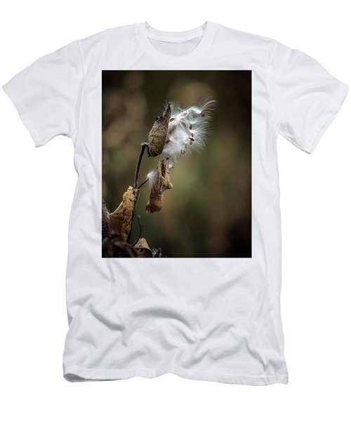 Milkweed Plant Dried And Blowing In The Wind Men's T-Shirt (Slim Fit) by John Brink