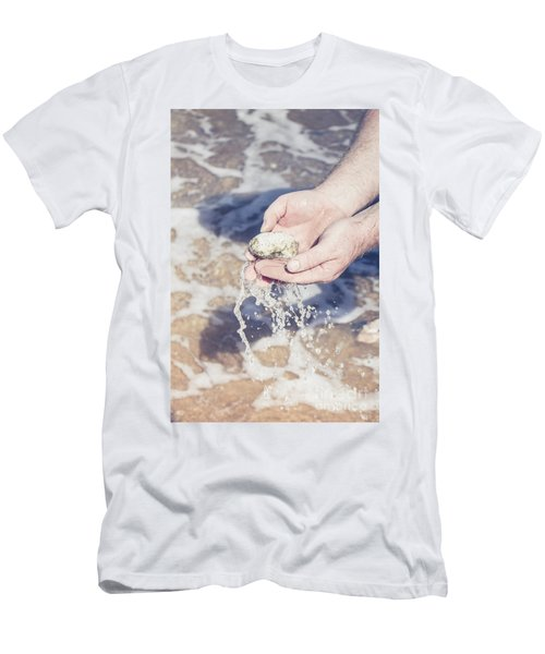 Mineralogy Collector Washing A Pumice Stone Sample Men's T-Shirt (Athletic Fit)