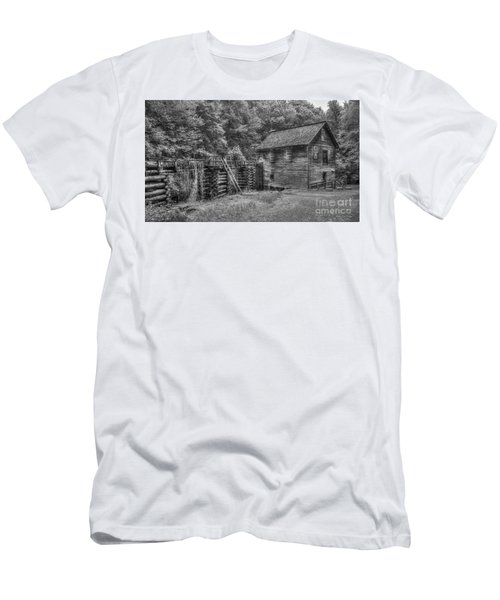 Men's T-Shirt (Slim Fit) featuring the photograph Mingus Mill Black And White Mingus Creek Great Smoky Mountains Art by Reid Callaway