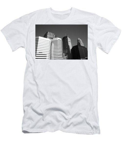 Men's T-Shirt (Slim Fit) featuring the photograph Minneapolis Skyscrapers Bw 5 by Frank Romeo