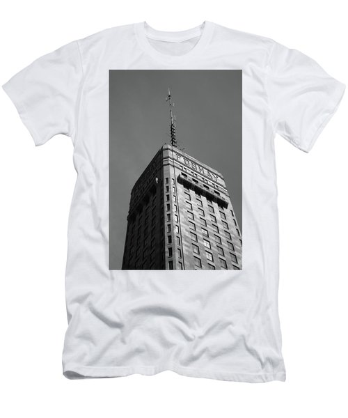 Men's T-Shirt (Slim Fit) featuring the photograph Minneapolis Tower 6 Bw by Frank Romeo