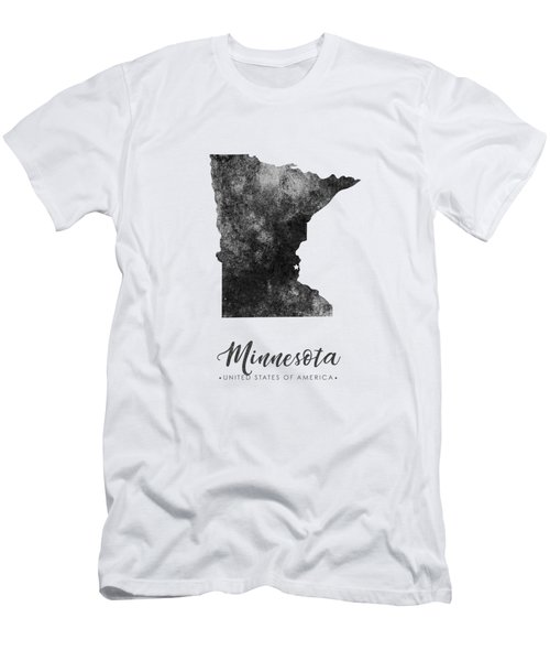 Minnesota State Map Art - Grunge Silhouette Men's T-Shirt (Athletic Fit)