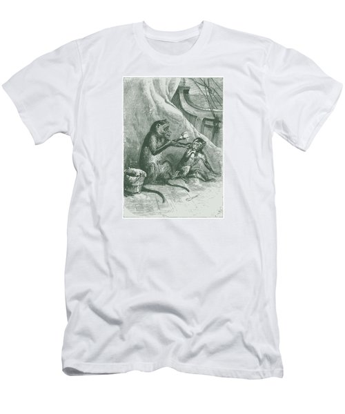 Men's T-Shirt (Slim Fit) featuring the drawing Mischievous Monkey by David Davies