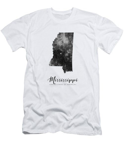 Mississippi State Map Art - Grunge Silhouette Men's T-Shirt (Athletic Fit)