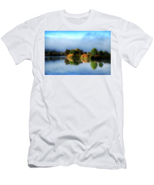 Misty Fall Colors On The River Men's T-Shirt (Slim Fit) by Lynn Hopwood