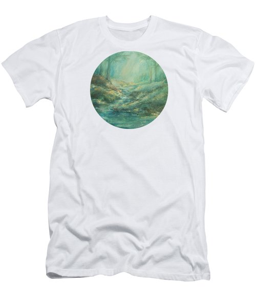 The Misty Forest Stream Men's T-Shirt (Slim Fit) by Mary Wolf