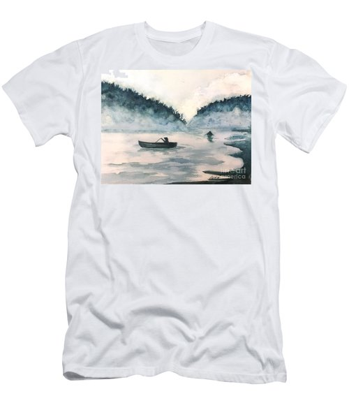 Misty Lake Men's T-Shirt (Slim Fit) by Lucia Grilletto