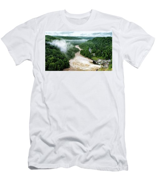 Misty Morning At Summersville Lake Dam Men's T-Shirt (Slim Fit) by Mark Allen