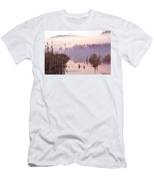 Misty Morning At Vaseux Lake Men's T-Shirt (Slim Fit) by John Poon
