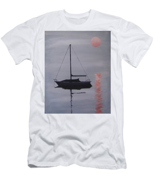 Men's T-Shirt (Slim Fit) featuring the painting Misty Morning Mooring by Jack Skinner