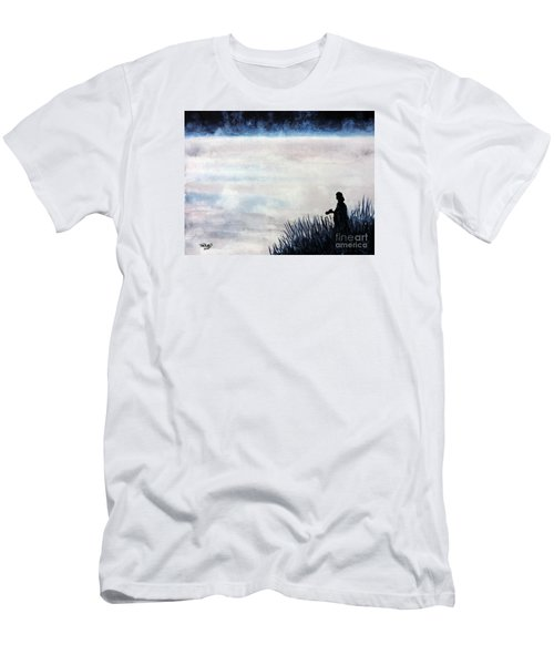 Men's T-Shirt (Slim Fit) featuring the painting Misty Morning Photographer by Tom Riggs