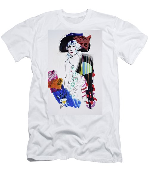 Model With Fashion Hat And Chawl Men's T-Shirt (Slim Fit) by Amara Dacer