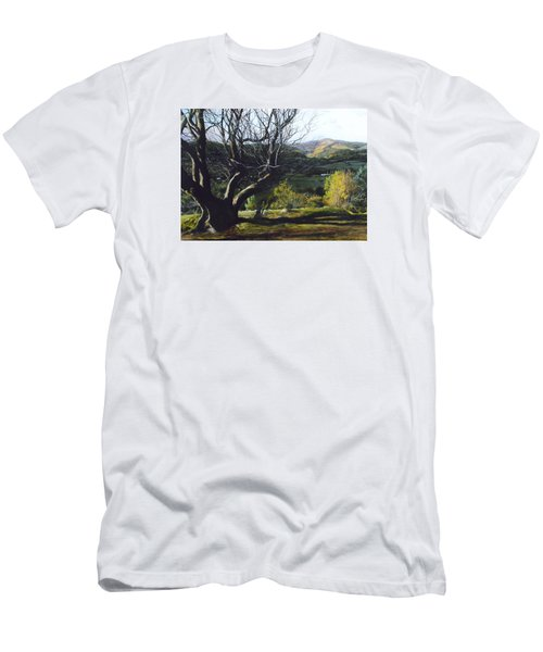 Men's T-Shirt (Slim Fit) featuring the painting Moel Famau From Loggerheads by Harry Robertson